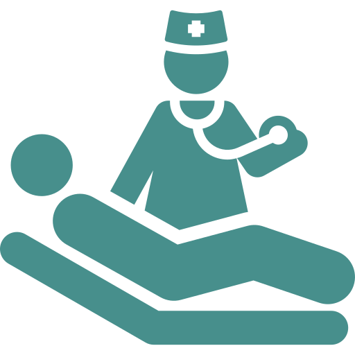 An icon depicting a patient getting treated by a chiropodist
