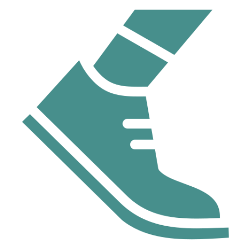 An icon depicting a foot running in a shoe